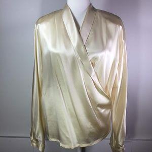 Linda Allard Ellen Tracy Cream Silk Wrap Blouse 8